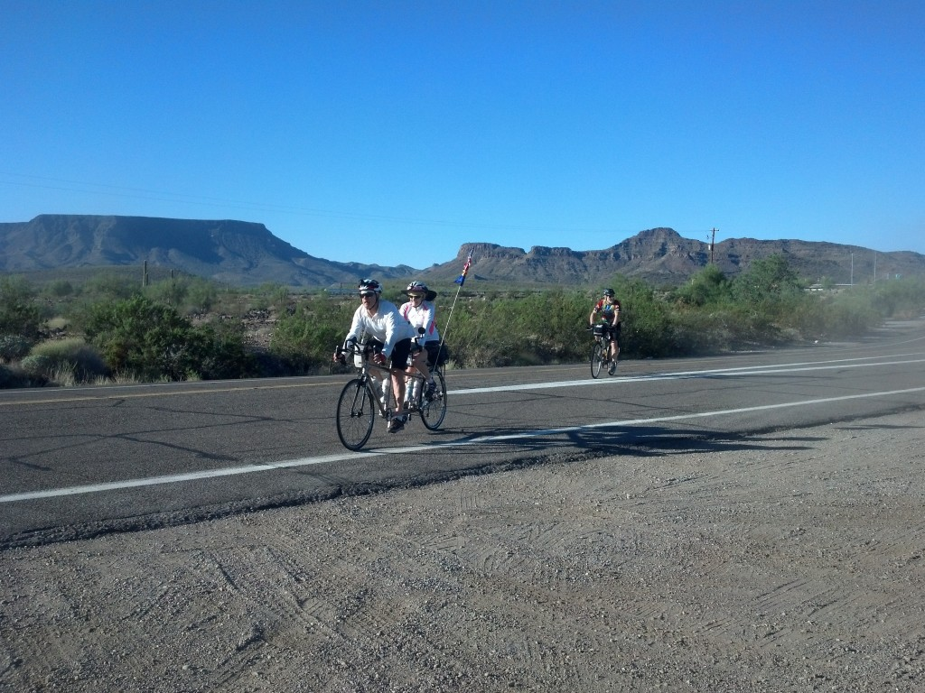 Arriving for a water break,start of Route 60 near Brenda, Arizona