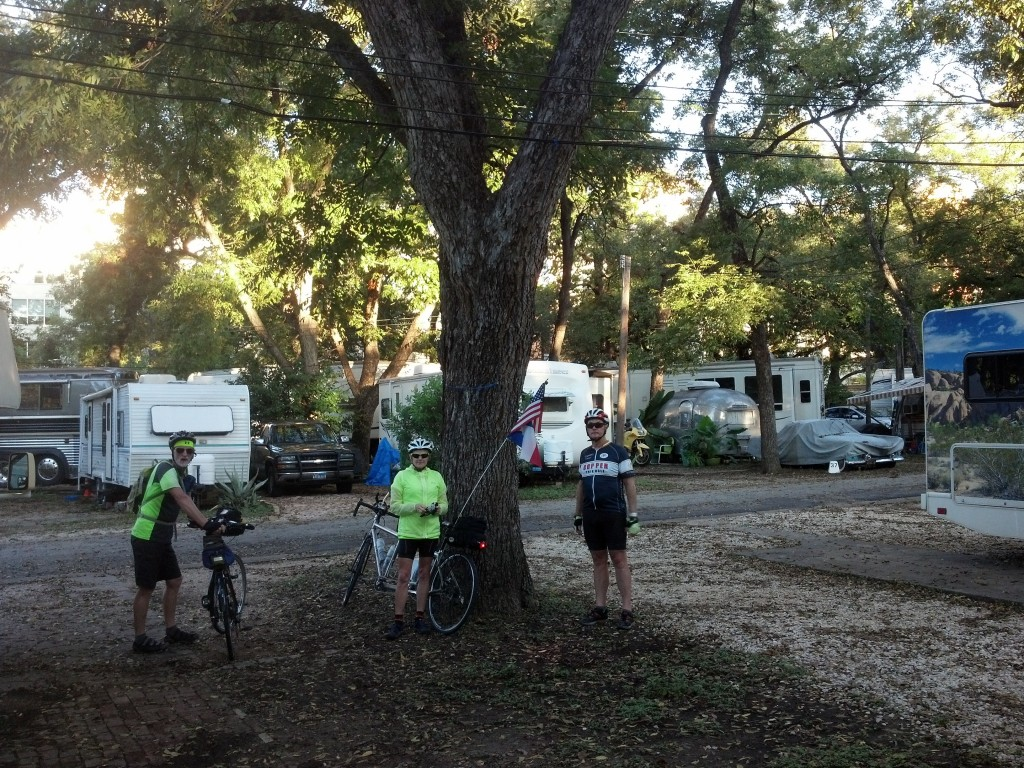 The team prepares to leave, Austin (Pecan Grove RV Park)