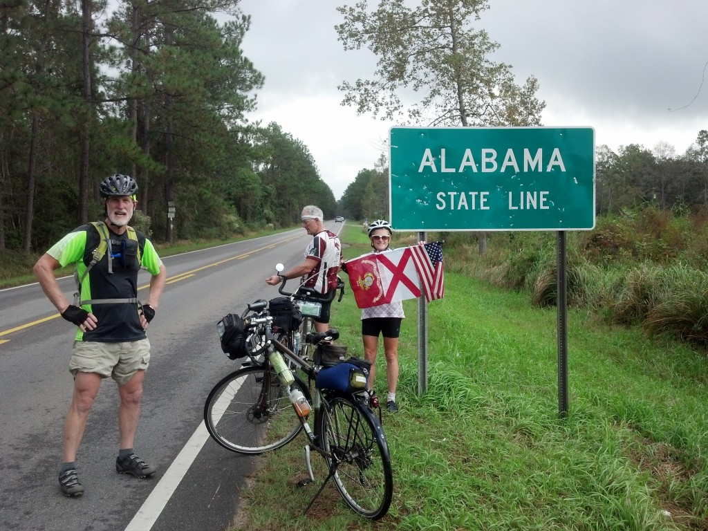 Crossing the Alabama/Mississippi line - thanks Pat Connelly for flag correction