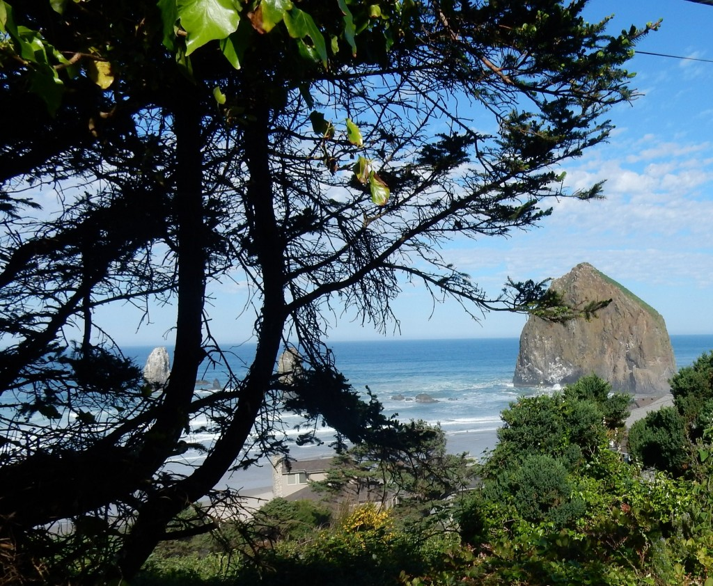 Top of the first hill, outside Cannon Beach, view of Haystack Rock