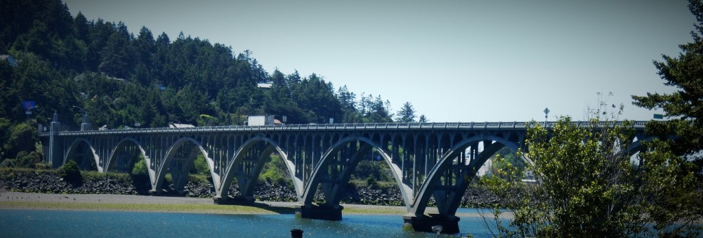 Isaac Lee Patterson Bridge, built in 1930, crossing the Rogue River, Gold Beach, OR