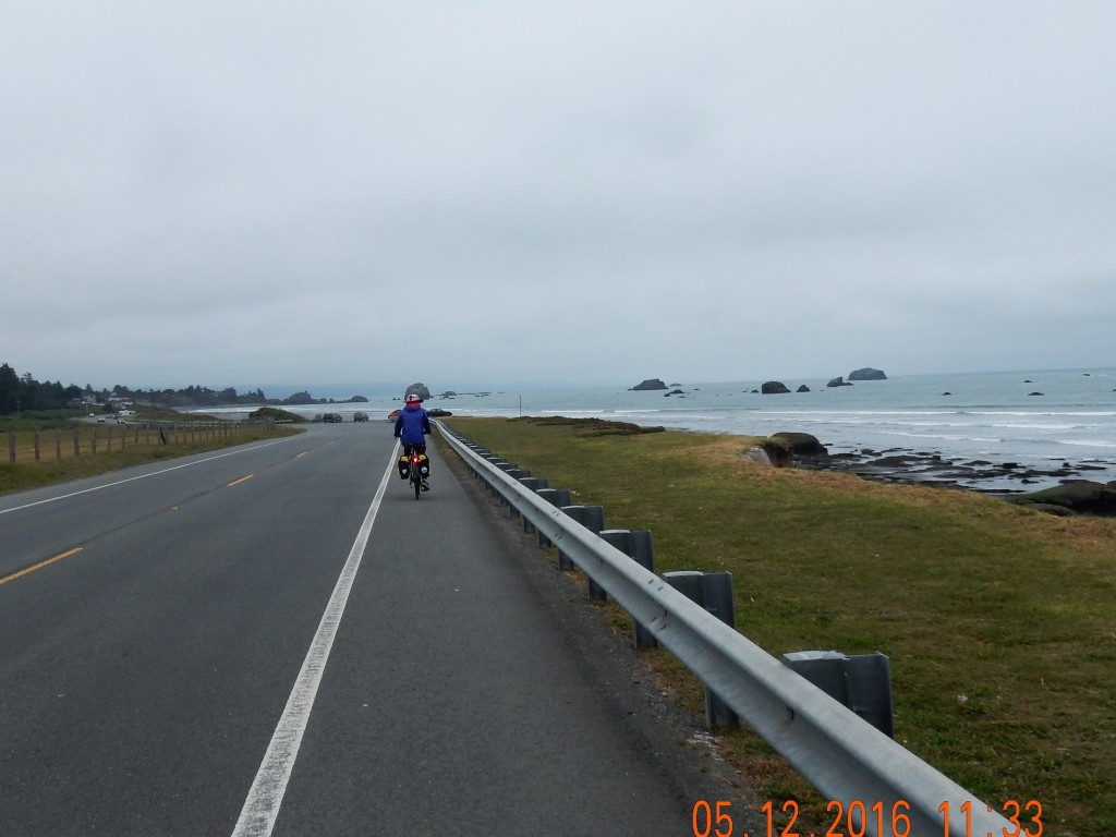 Cycling along Pebble Beach Rd.