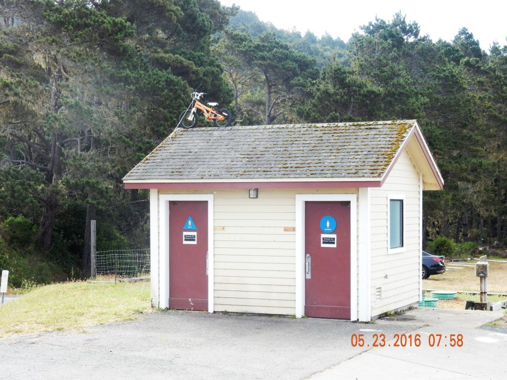 Restrooms with bicycle on top - cycle friendly