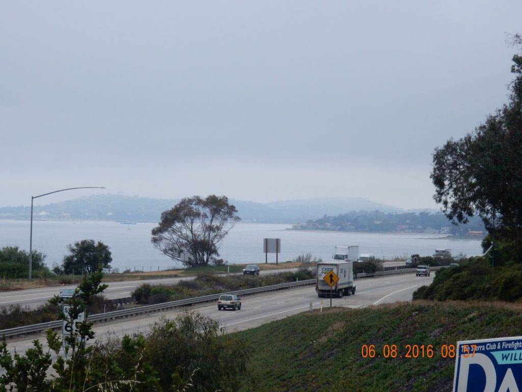 Looking back on Santa Barbara from above the freeway