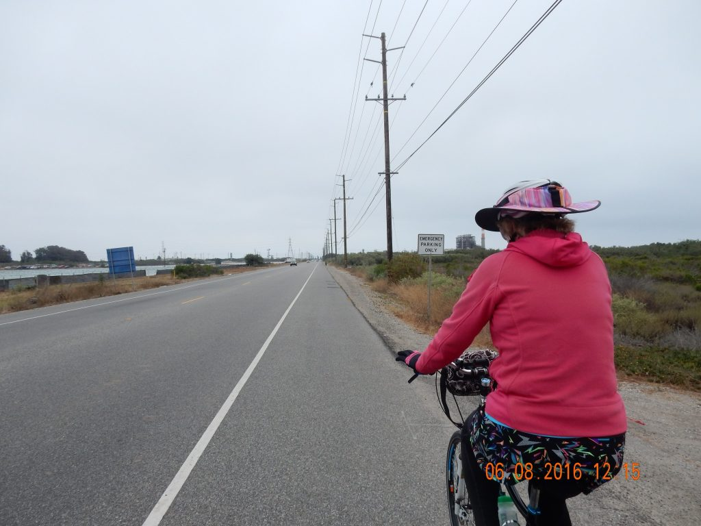 Cycling 14.5 mph down Harbor Road at end of ride