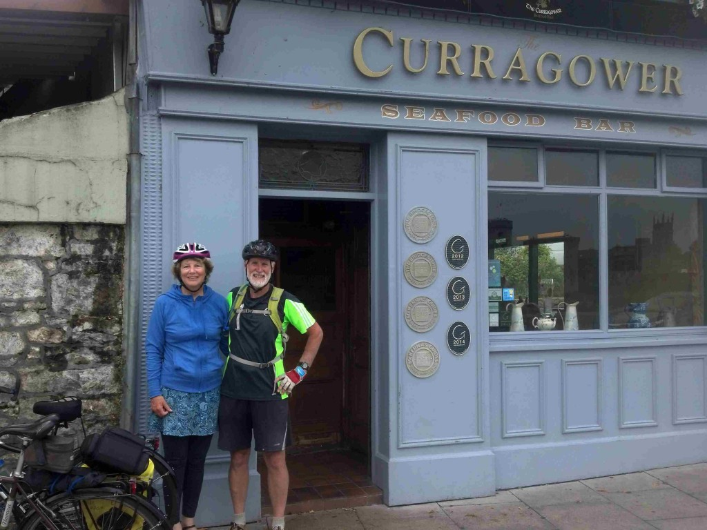 2000 miles, two months, two bicycles and two old folks, completing the ride with a pint and a coke and some chowder