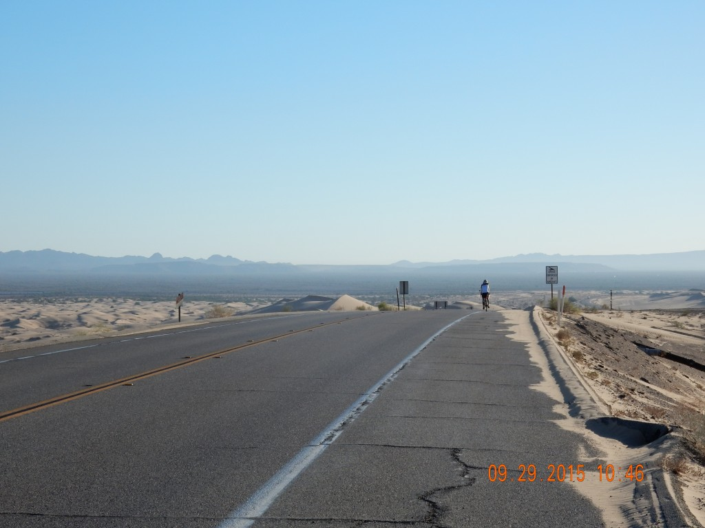Cycling past the Imperial Sand Dunes