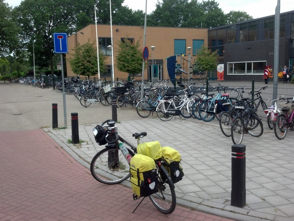 Student cycle parking at school in Holland
