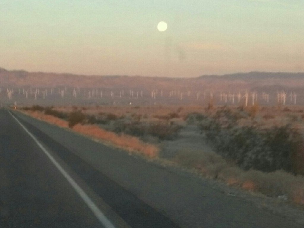 The morning after the Super Moon, windmills and the beckoning desert