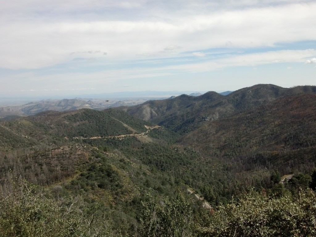 View from the vista at Emory Pass, horizontal white streak is the road