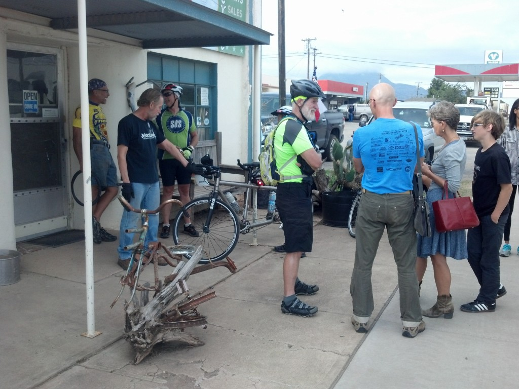 Sharing with folks from Oklahoma (dad originally from France) outside The Bikeman. Guy in black shirt is The Bikeman