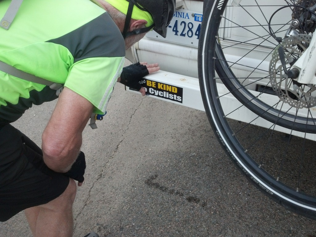 "Bill finally gets our ""Be Kind to Cyclists"" bumper sticker on the RV"
