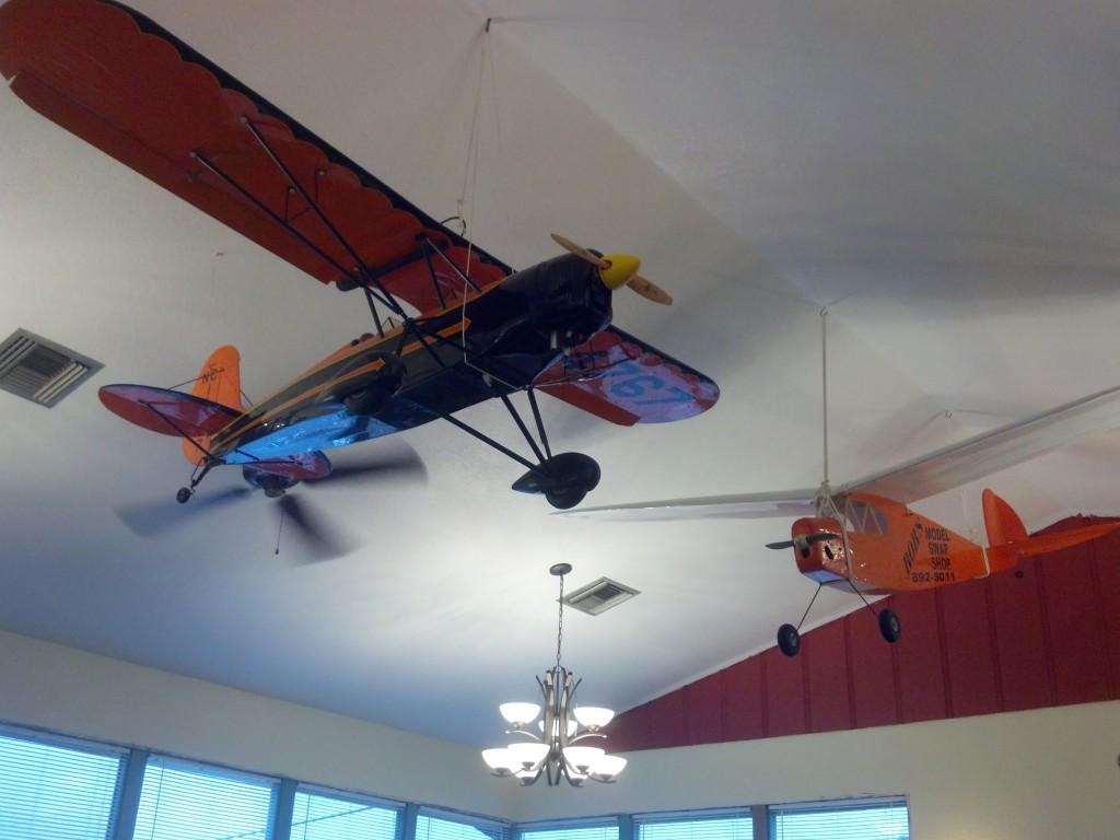 Airplane models hanging in McClain's Buffet