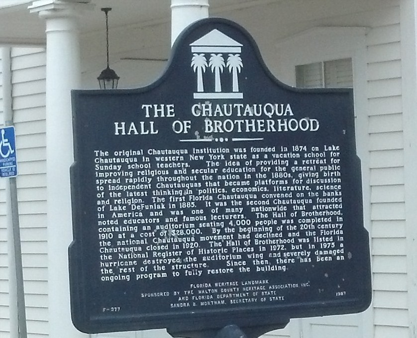Plaque about the Chautauqua Hall of Brotherhood