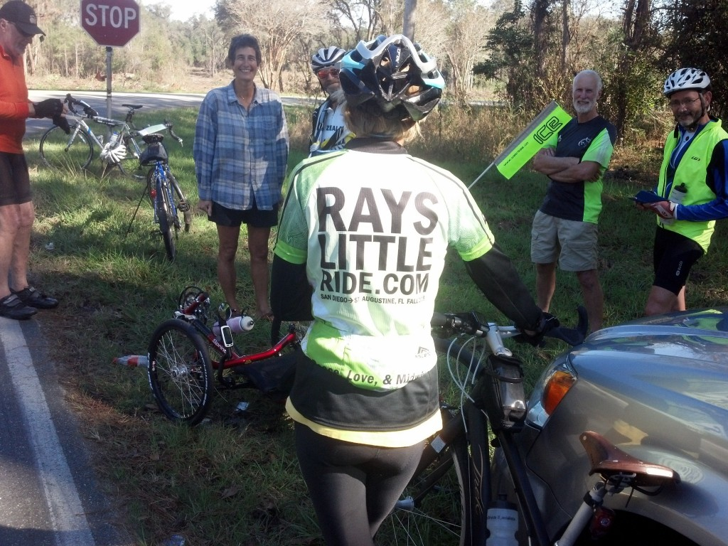 Part of Ray's support team with his team shirt