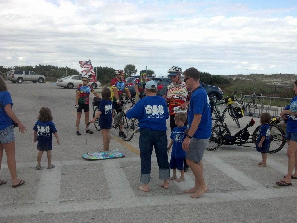 Arriving at St. Augustine Beach with Adventure Cycling Group