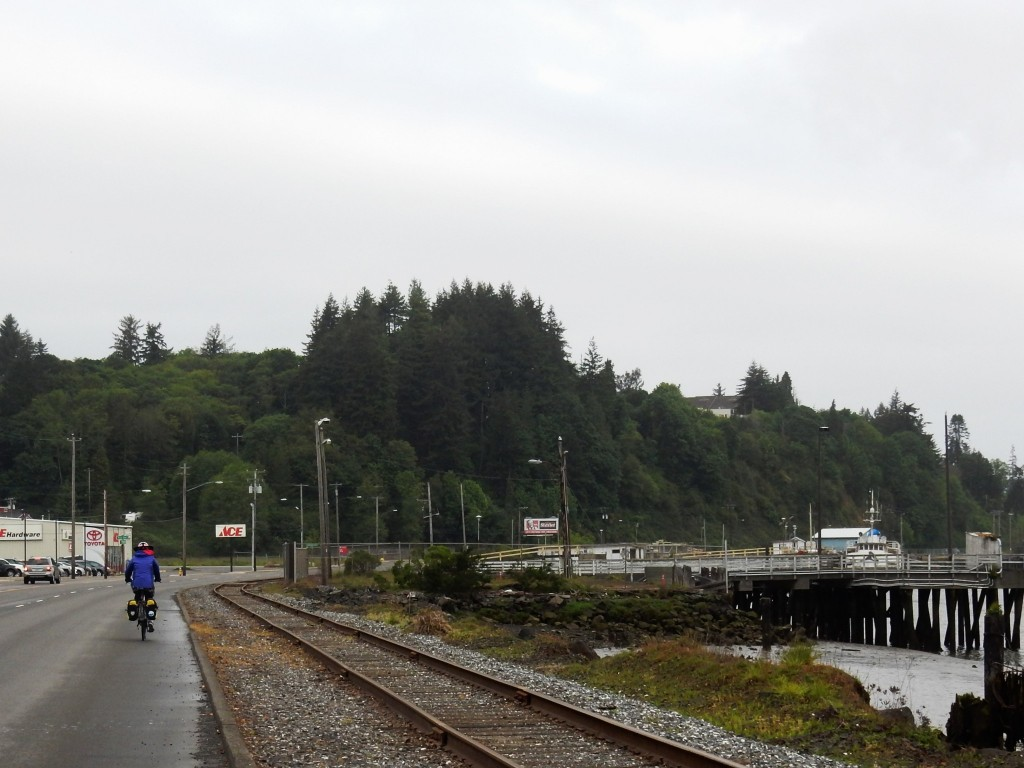 Leaving Coos Bay, have to cycle over that hill in the background
