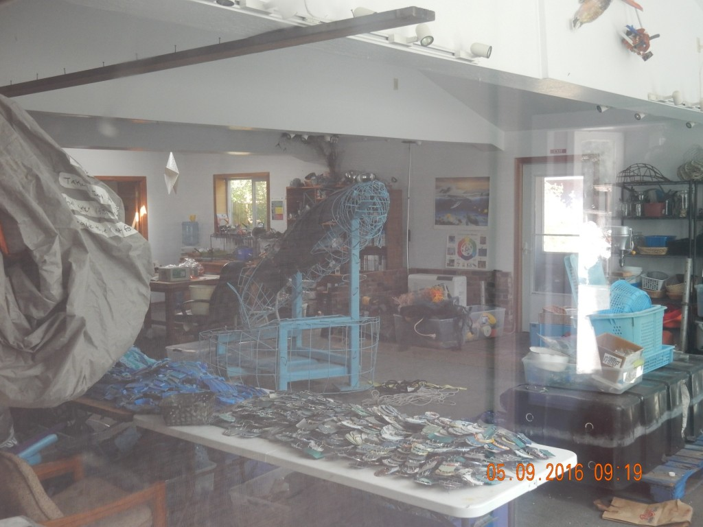 Inside workshop set up to do a dolphin
