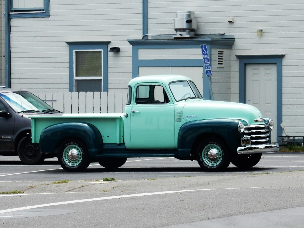 old green Chevrolet truck