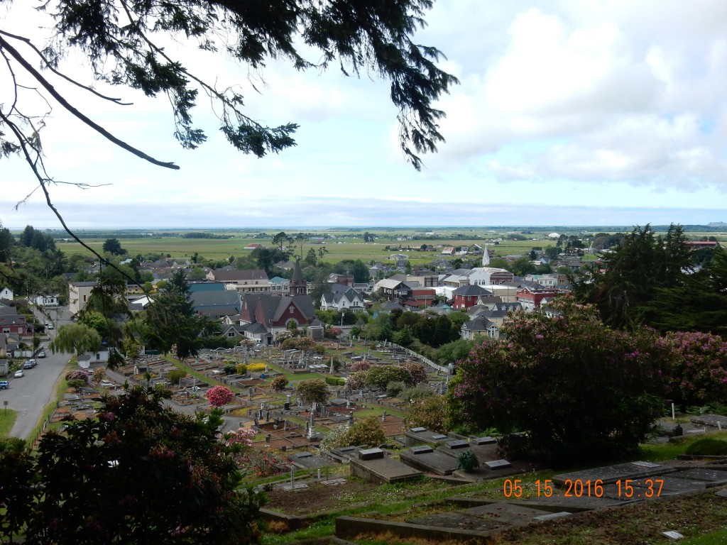 View from the top of the cemetery looking down on the town of Ferndale