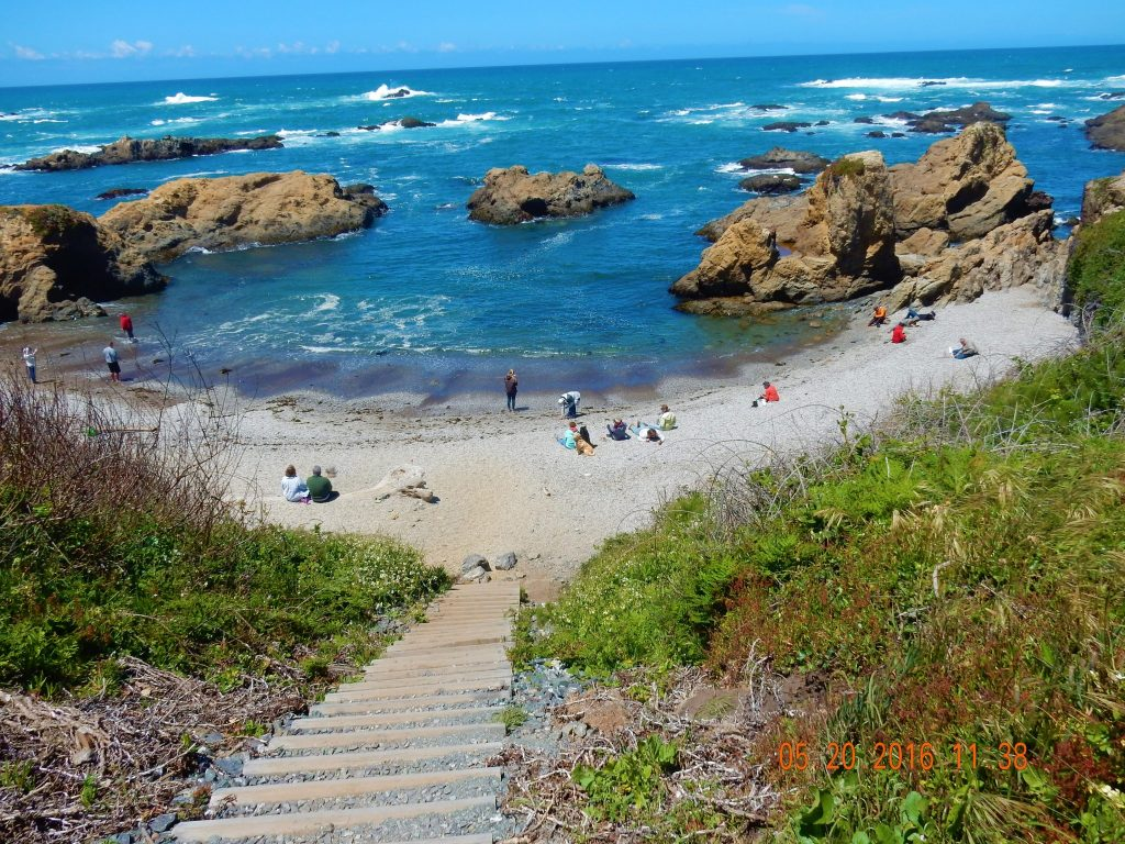 Looking down on Glass Beach, Fort Bragg