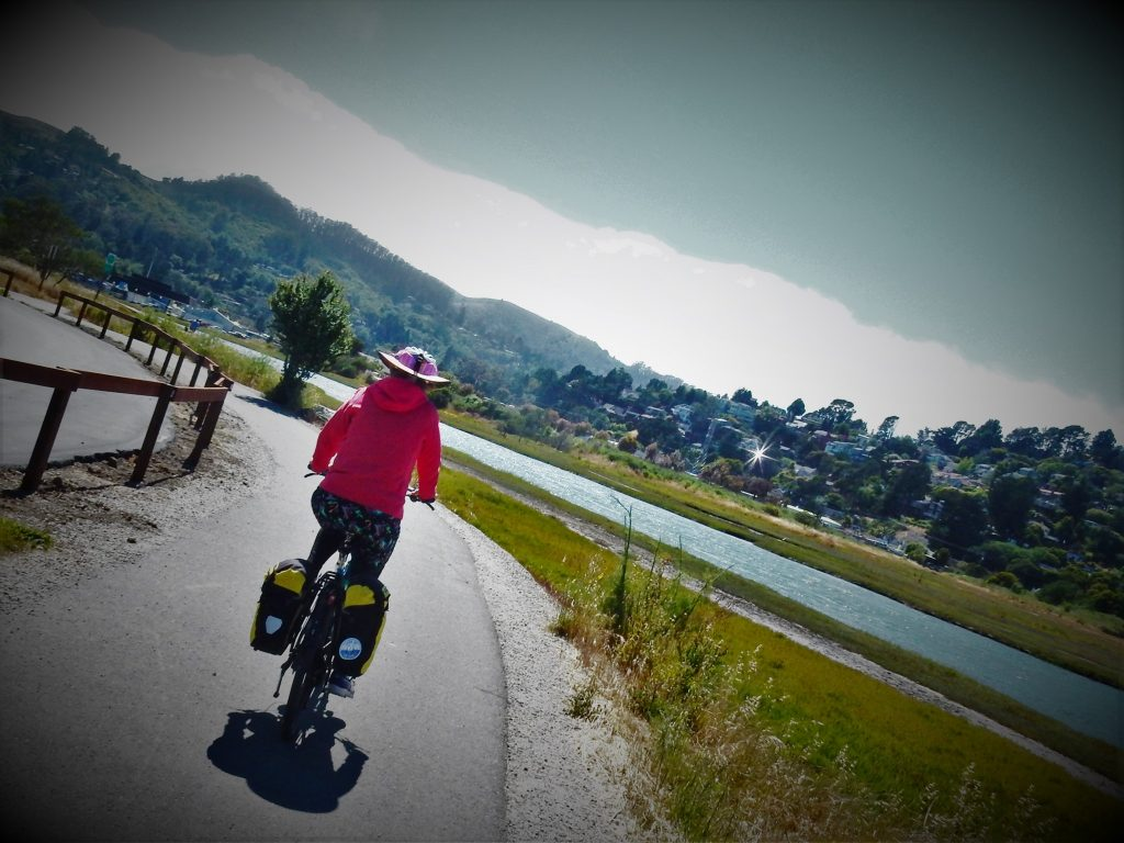Mill Valley-Sausalito Bike Path approaching San Francisco Bay